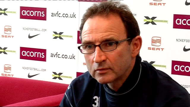 Aston Villa press conference O'Neill press conference SOT Though has been good time for club recently fate would say disaster is round corner/Praises...