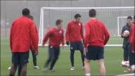 Aston Villa squad training ENGLAND Warwickshire Bodymoor Heath EXT Generic shot of Aston Villa players training Ashley Young training John Carew...