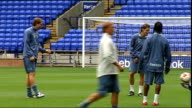 Bolton Wanderers training ENGLAND Bolton Reebok Stadium EXT Bolton Wanderers FC players training on pitch including Jussi Jaaskelainen Ali Al Habsi...
