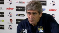 Cardiff City v Manchester City preview Manuel Pellegrini press conference ENGLAND Manchester INT Manuel Pellegrini press conference SOT On Vincent...