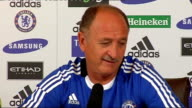 Chelsea FC press conference ENGLAND Surrey Cobham INT Luis Felipe Scolari press conference SOT Talks about resignation of Steve Clarke / Clarke...