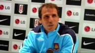 Fulham v West Ham United postmatch press conference Gianfranco Zola arriving and taking seat at press conference / Gianfranco Zola press conference...