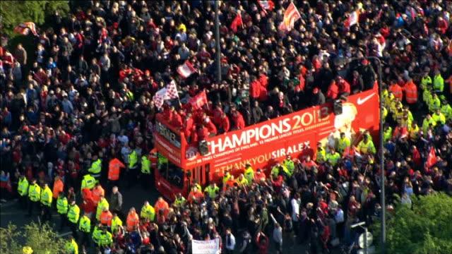 Manchester United victory parade Air views parade AIR VIEWs Victory parade along