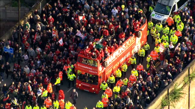 Manchester United victory parade Air views parade AIR VIEWs More of victory parade / Victory parade through town centre and arriving at Albert square...