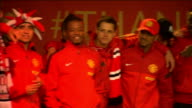 Manchester United victory parade GVs parade Michael Carrick interview on stage SOT / Patrice Evra interview SOT / Rio Ferdinand interview and leading...