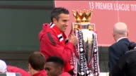 Manchester United victory parade Opentop bus More players interviewed and lifting trophy including Danny Wellbeck Robin van Persie Anderson Luis de...