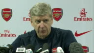 Hertfordshire Colney INT Arsene Wenger press conference SOT re Aaron Ramsey injury