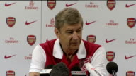 Premier League preview / QPR return to the top division INT Arsene Wenger into room for press conference Arsene Wenger press conference SOT First...