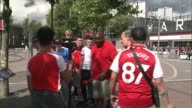 Premier League transfer deadline day Robbie Lyle and group of fans outside Emirates Stadium PAN