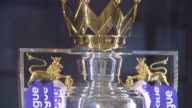 transfer window to close before start of season London INT Close shots of Premier League trophy wioth 'Premier League' ribbons