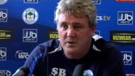 Wigan Stve Bruce press conference ENGLAND Wigan INT Steve Bruce press conference SOT discusses team's current form and forthcoming Premiership match...