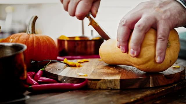 Preparing and Cutting Fresh Pumpkins