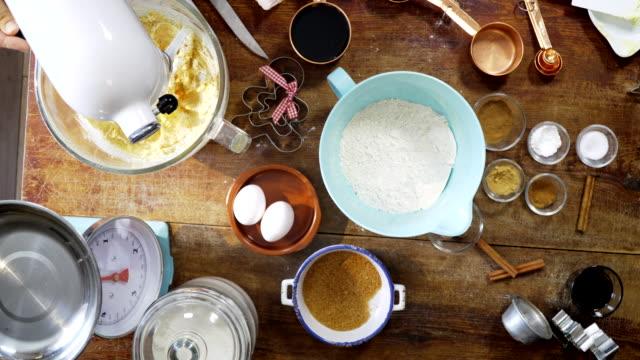 Preparing gingerbread dough for Christmas Baking