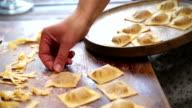 Preparing Homemade Ravioli Pasta