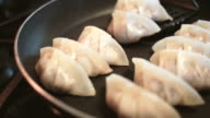 Preparing Japanese Gyoza Potstickers