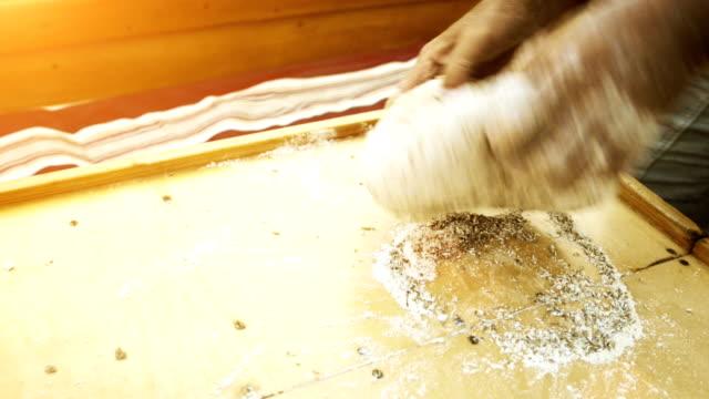 Preparing rustic dark bread, making leaven