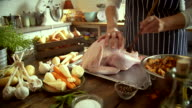 Preparing Stuffed Turkey for Holidays - 4k Video