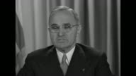 US Pres Harry Truman reads radio address regarding price stability and higher wage rates if these cannot be achieved the outlook 'would be very black...