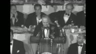 Pres Harry Truman speaks of Republican presidential candidate Dwight D Eisenhower during a speech at a Columbus Day dinner at the WaldorfAstoria...