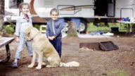 Preschooler Children Camping with Dog