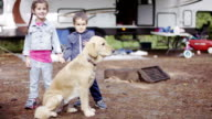 Preschooler Children RV Camping with Dog