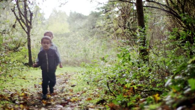 Preschoolers Exploring the Woods