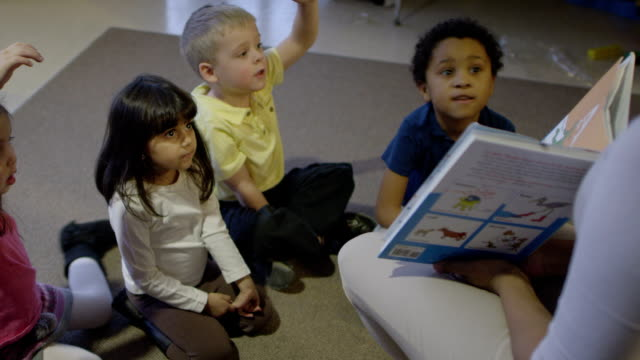 Preschoolers learning while at daycare.