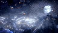 Presents flying over winter landscape (night/alpha matte) - Loop