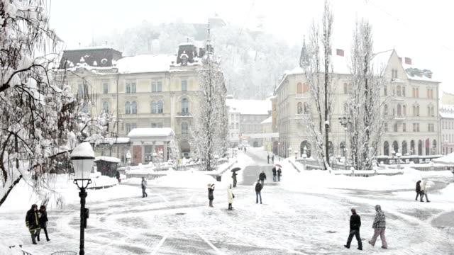 Preseren Trg on winter morning