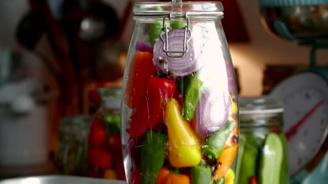 Preserving Organic Colored Red Bell Peppers in Jars