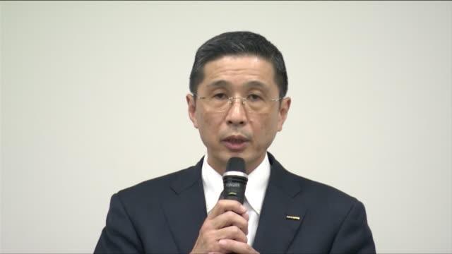 "President and CEO of Nissan Motor Hiroto Saikawa entering the press conference room Saikawa saying ""I apologize to everyone who trusted the Nissan's..."