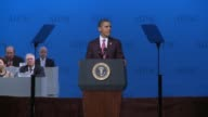 US President Barack Obama addresses AIPAC defends his record on Israel and says when the chips are down he's got Israel's back FSN filmed entire...