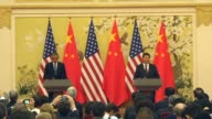S President Barack Obama and Chinese President Xi Jinping hold a press conference following the meeting of threat of climate change at the Great Hall...