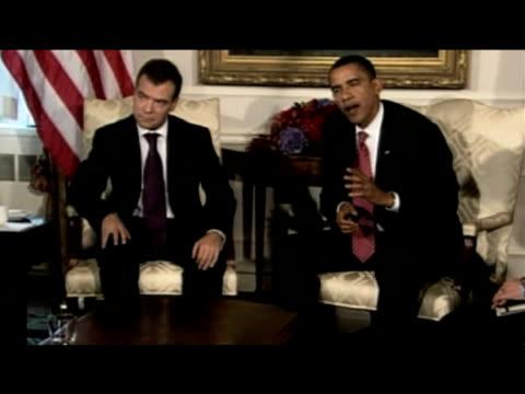 President Barack Obama comments on earlier talks with President Dmitry Medvedev during press meeting 24 September 2009