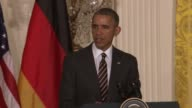 US President Barack Obama during a press conference with German Chancellor Angela Merkel comments on ISIS ISIL Islamic State and their hateful...