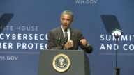 US President Barack Obama hosts the country's first Cybersecurity Summit at Stanford University in Palo Alto California