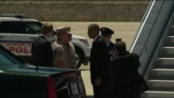 President Barack Obama is Greeted by United States Marines Upon Arriving in San Diego California for a fundraising visit