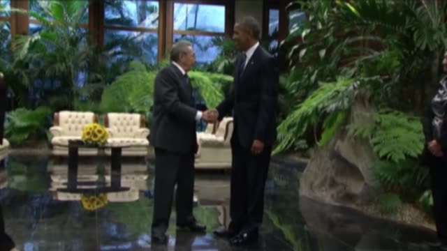 President Barack Obama is welcomed Cuban President Raul Castro with an official welcoming ceremony at the Palace of the Revolution in Havana Cuba 21...