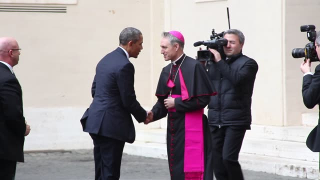 President Barack Obama Meets Pope Francis at San Damaso Courtyard on March 27 2014 in Vatican City Vatican