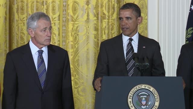 US President Barack Obama nominates Chuck Hagel to Defense Secretary and John Brennan to CIA DIrector Obama nominates Hagel Brennan at White House...