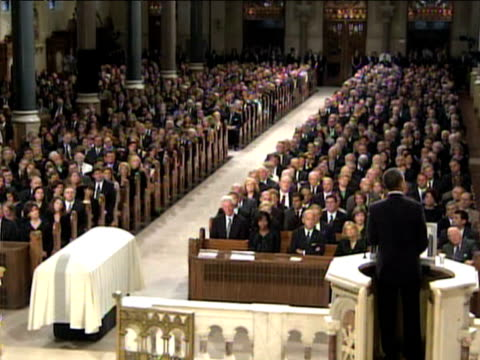 US President Barack Obama reads eulogy at funeral service for Senator Ted Kennedy 29 August 2009