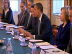 President Barack Obama sits at round table with his administrative team during G20 Summit London 1 April 2009