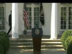 President Barack Obama walks towards podium to address press on the White House lawn Washington DC 06 November 2009