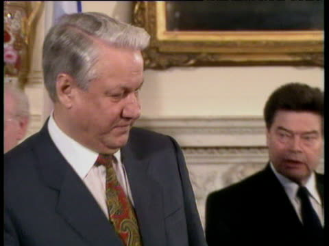 President Boris Yeltsin and Prime Minister John Major sit down to sign joint declaration of friendship in 10 Downing Street London 30 Jan 92