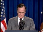 / President Bush introduced beginning of speech Bush Press Conference on Persian Gulf Conflict Pt at White House on March 01 1991 in Washington DC