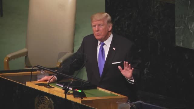 S President Donald Trump addresses the 72nd United Nations General Assembly at UN headquarters in New York USA on September 19 2017