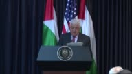 President Donald Trump and Palestinian President Mahmud Abbas hold a joint press conference at the presidential palace in the West Bank city of...