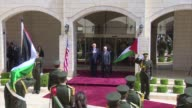 President Donald Trump is welcomed by Palestinian President Mahmoud Abbas with an official ceremony at the presidential palace in the West Bank city...