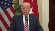 President Donald Trump speaks during a joint press conference with Turkish President Recep Tayyip Erdogan following their meeting in the Roosevelt...