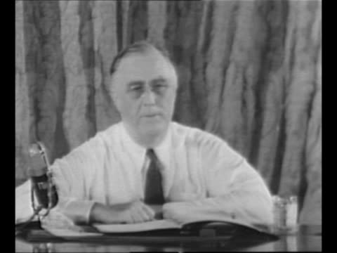 US President Franklin Roosevelt accepts third term nomination via radio address to the Democratic National Convention in Chicago IL from Washington...